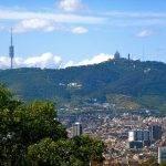 vue du Tibidabo depuis le Montjuïc: monter en funiculaire
